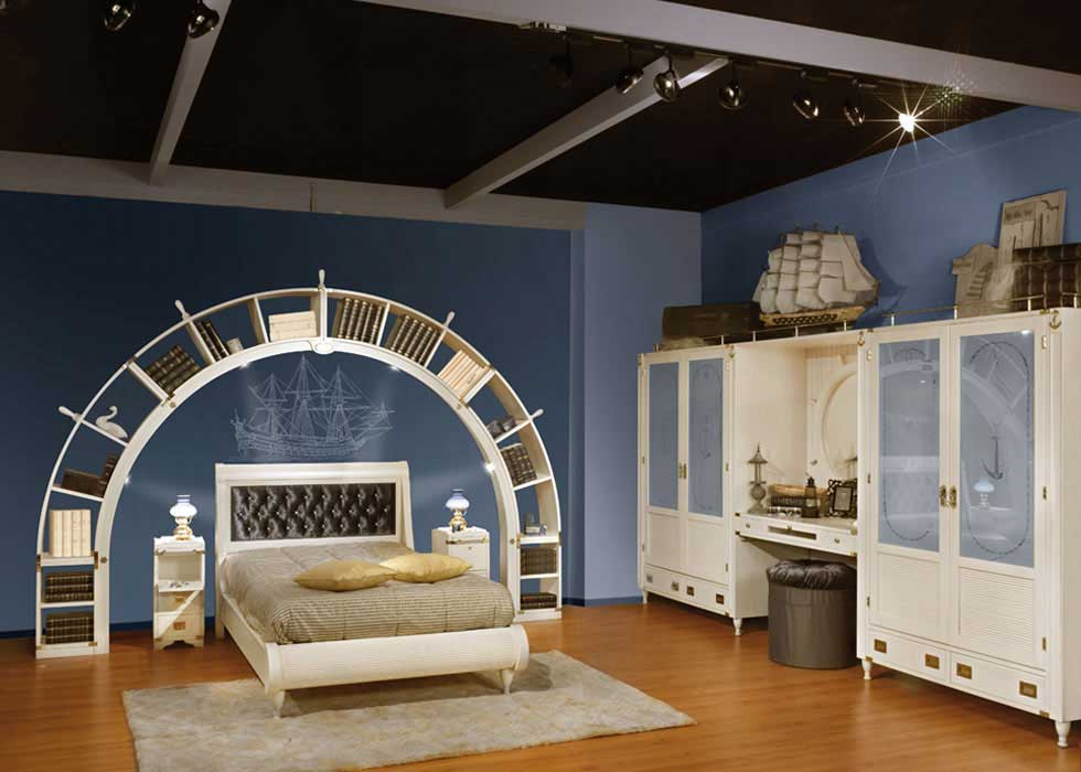 Blue-and-White-Sea-Theme-Kids-Bedroom-Design
